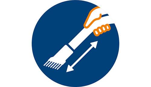 Brosse douce intégrée dans la poignée pour un accès facile