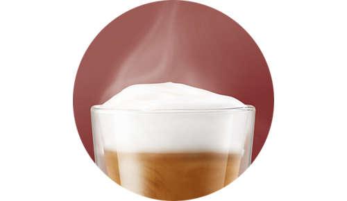 Gepatenteerd systeem voor warm, romig melkschuim