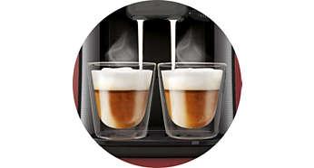 Nur SENSEO® Latte Duo bereitet 2 Getränke mit Milch auf einmal zu