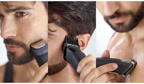 Przycinanie i stylizacja dzięki 11 nasadkom do twarzy, włosów i ciała