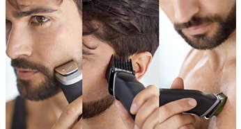 Przycinanie i stylizacja dzięki 12 nasadkom do twarzy, włosów i ciała