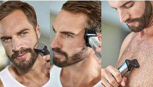 Recorta y da forma el vello facial y corporal, y el cabello con 12accesorios