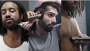 Подравнивайте волосы на голове, лице и теле и создавайте свой стиль с помощью 12насадок