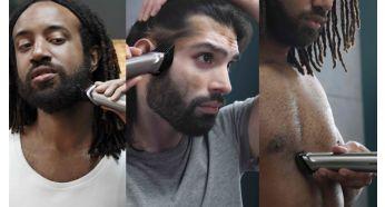 Подравнивайте волосы на голове, лице и теле и создавайте свой стиль с помощью 14насадок