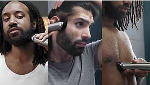 Tunde-ţi şi stilizează-ţi părul de pe faţă, cap şi corp cu 16 instrumente