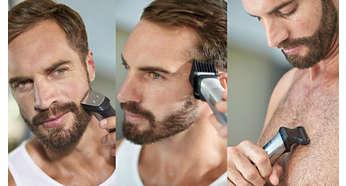 Przycinanie i stylizacja dzięki 18 nasadkom do twarzy, włosów i ciała