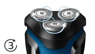 Heads flex in 3 directions to easily shave every curve