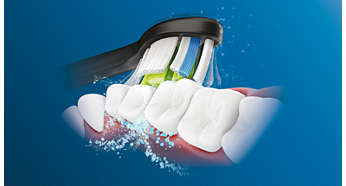 Creates microbubbles that reach deep between teeth
