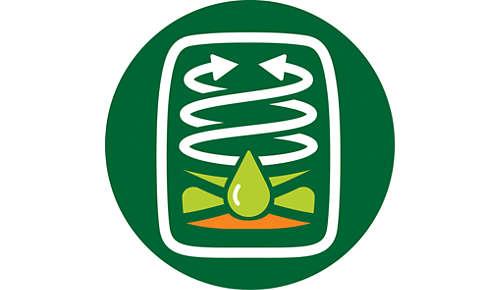 Twin TurboStar-Heißlufttechnologie entfernt Fett aus Lebensmitteln