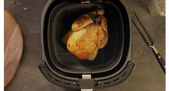 O tamanho familiar XXL tem espaço para um frango inteiro ou 1,4 kg de batatas fritas