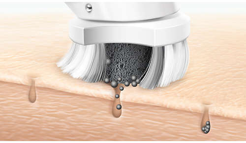 Pollution particles drawn out and removed from skin