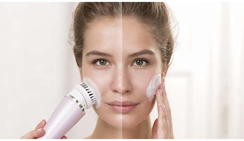 Entfernt Make-up und Verunreinigungen bis zu 11x besser als Ihre Hände