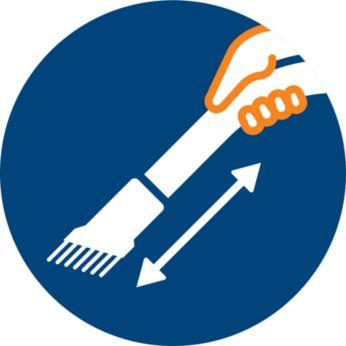 Zachte borstel geïntegreerd in handvat, altijd klaar voor gebruik