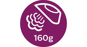 Hơi phun tăng cường lên đến 160 g giúp ủi phẳng các nếp nhăn khó ủi