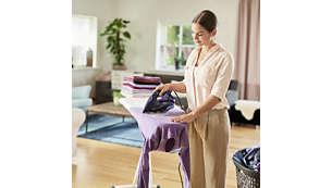 Dzięki strumieniowi 55 g w tkaninę wnika do 20% więcej pary*