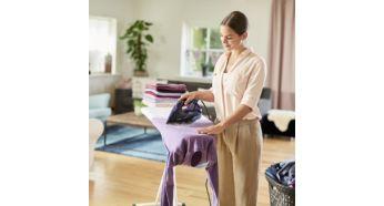 Благодаря мощной подаче (55г) в ткань может проникать на 20% больше пара*