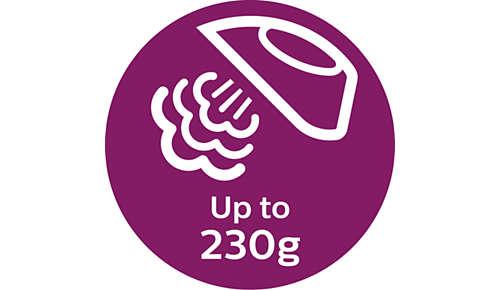 De stoomstoot van tot 230 g verwijdert moeiteloos de meest hardnekkige kreuken
