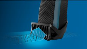 Lift & Trim comb guides hairs to the blades for an even trim