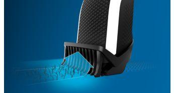 Насадка-триммер Lift&Trim направляет волоски к лезвиям для равномерного подравнивания