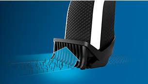 Lift & Trim-kam leidt haren in de mesjes voor een gelijkmatig resultaat