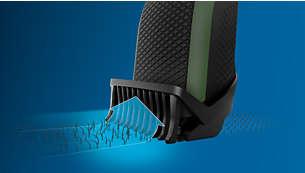 Le guide de coupe dynamique guide les poils jusqu'aux lames, pour une coupe uniforme