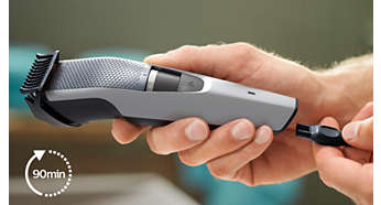 90 minutes of cordless use or plug it in