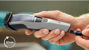 60 minutes of cordless use or plug it in