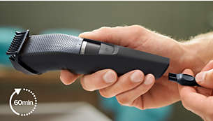 60minutes of cordless use or plug it in