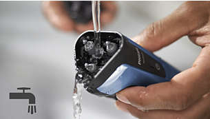 100% waterproof shaver can be rinsed clean under the tap