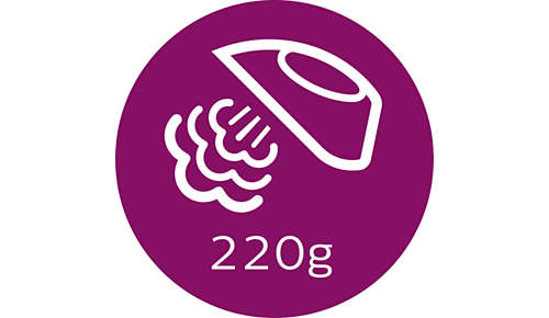 Dampfstoß von bis zu 220g glättet auch hartnäckige Falten