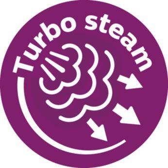 La pompe à vapeur Turbo envoie jusqu'à 50% de vapeur en plus au travers du tissu*