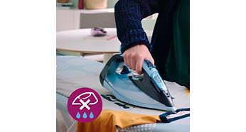 Drip-stop system keeps garments spotless while ironing