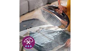يُحافظ نظام منع التقطير على الملابس خالية من البقع أثناء الكيّ