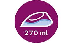 Большой резервуар для воды 270 мл позволяет погладить больше вещей