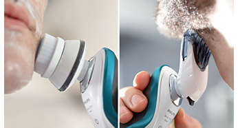 Click-on styler and brush for trimming and facial cleansing