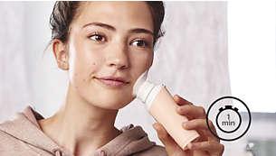 Limpar o rosto nunca foi tão fácil! 1 minuto para obter melhores resultados