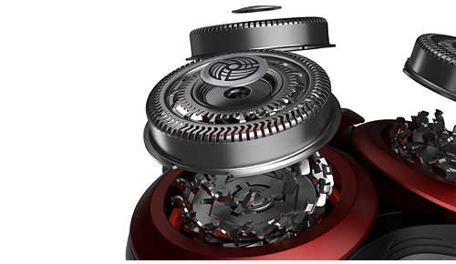 72 rotating blades capture and cut hair from all angles