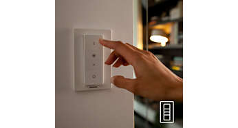 Controllo wireless semplice con il telecomando dimmer (incluso)