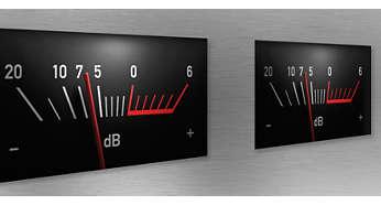 Ingebouwde VU-meter (volume-eenheid) geeft ingangssignaalniveau aan