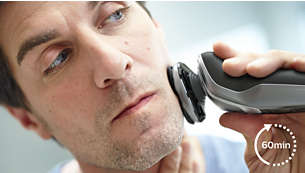 60 minutes of cordless shaving after a one-hour charge