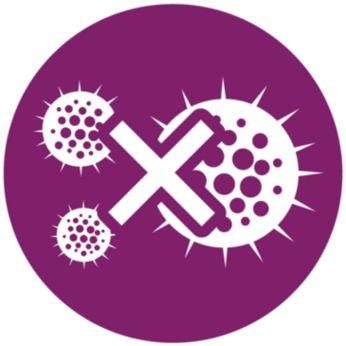 Trvalý výstup páry odstraňuje zápach azabíjí 99,9%* bakterií