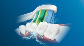 Stvara mikromjehuriće koji dosežu dublje između zuba