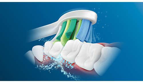 Vytvoří mikrobubliny, které dosáhnou hluboko mezi zuby