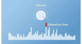 Funkcja zapobiegania obcinaniu pasma zapewnia głośny, wolny od zniekształceń dźwięk