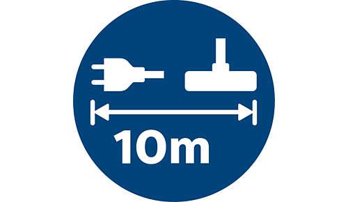 Dlouhý dosah (10m) umožňuje větší pohyblivost bez nutnosti vypojit kabel.