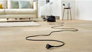 Благодаря рабочему диапазону до 10метров вы сможете дольше убираться, не отключая прибор от сети