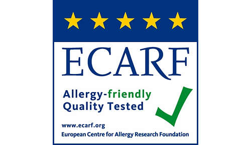 Produkt certyfikowany lub testowany przez organizacje ECARF i Airmid