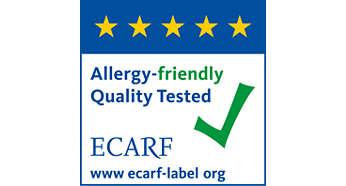 Hipoalergénico con certificación del ECARF (Centro Europeo de la Fundación para la Investigación de la Alergia)