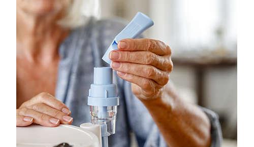 Lääkkeen hengittäminen vie 6–8minuuttia*