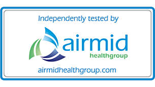 Airmid 認定フィルターにより空気中のアレルゲンの 90%を除去
